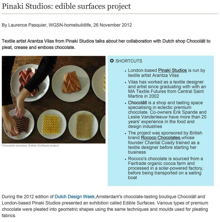 WGSN - Pinaki Studios Edible surfaces project - November 2012