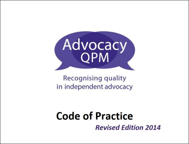 Images shows the cover page of Advocacy QPM Code of Practice.