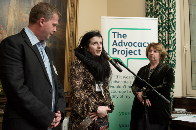 Image shows from the left: Brendan Leahy, User InvolvementbCo-Ordinator Camden SURGE; Fatima Begum, SURGE learning disability representative; and Karen Buck MP, at the Houses of Parliament