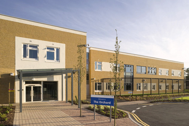 The photo shows the entry of the Orchard unit, St Bernard's Site Uxbridge Road, Southall UB1 3EU.
