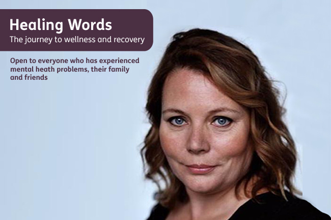 Image shows Joanna Scanlan and details for our poetry competition, Healing Words